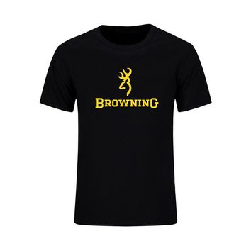 Men T Shirts Fashion 2017 Browning Firearms Logo Graphic Printed T-Shirt 100% Cotton Summer Casual Short Sleeve Tops Tees
