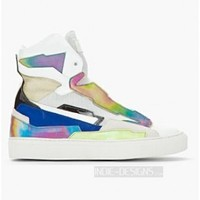 Indie Designs Leather Holographic SPA High Top Sneakers