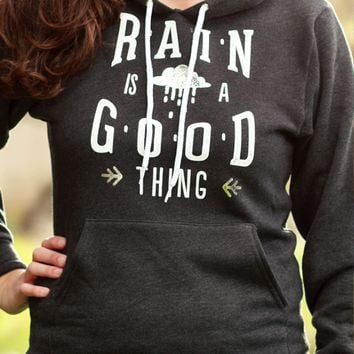 Rain is a Good Thing | Silver Foil Hooded Sweatshirt