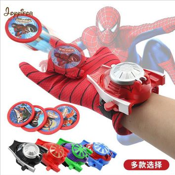 Joyyifor Super Hero Cosplay Avengers Toy Action Figure Toys Cartoon Iron Man Glove Emitter Flash bullet Sound For Children Gifts