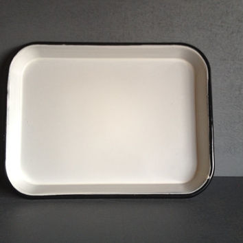 Vintage Enamel Serving Tray Black White Dinner Cocktail Lunch Vanity Table