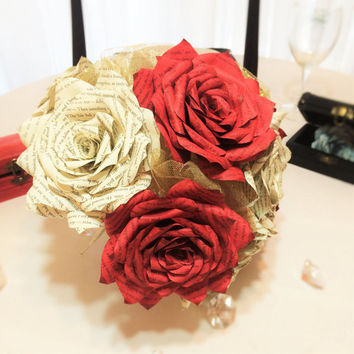 Harry Potter Bridal bouquet, Book page bouquet, Harry Potter book Rose wedding bouquet, Paper book Rose bouquet, Book page bouquet