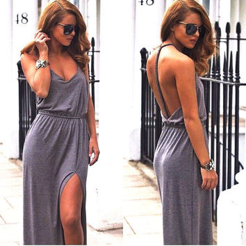 Sexy Celeb Womens Backless Sleeveless Gray V Neck Cotton Maxi Cut Summer Beach Dress Hot Slae Women Clothing Summer