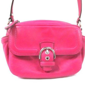 Auth COACH Campbell Leather Camera Bag F25150 Pink Leather Shoulder Bag