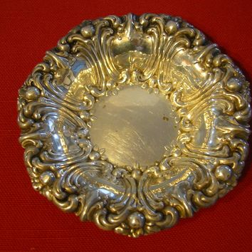 Gorham Silver Bowl Art Deco Floral Design Marked In Etch