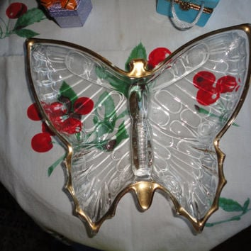 Butterfly Cut Glass Gold Gilt Candy Trinket Nut Dish