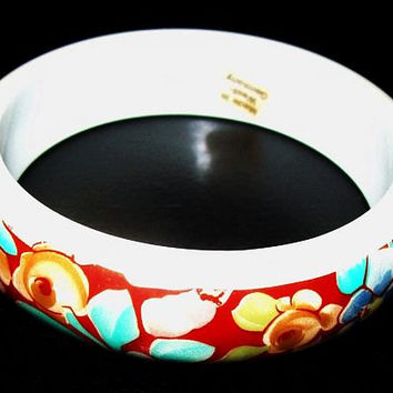 "W Germany Bangle Bracelet Signed Red Flower Design White Thermoset Plastic 3/4"" W Vintage 1960s"