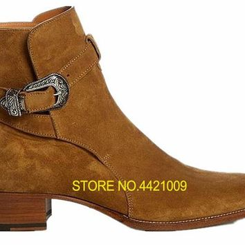 Handmade New Buckle Kanye West Boots Chelsea Shoes High Leather Martin Boots Casual Men Shoes