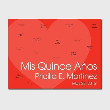 Personalized Quiceanera Guestbook Canvas -Red