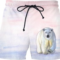 Polar bear in the icy dawn Swim Shorts