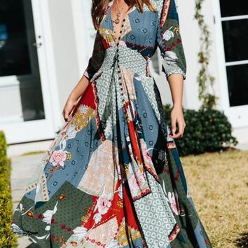 Daytime Drama Floral Pattern 3/4 Sleeve V Neck Button Smocked Casual A Line Maxi Dress - 5 Colors Available
