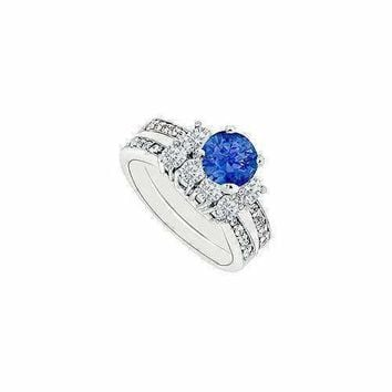 14K White Gold Blue Sapphire & Diamond Engagement Ring with Wedding Band Sets 1.50 CT TGW