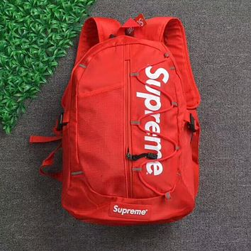Supreme Popular Unisex Canvas Backpack College High School Bag Travel Bag Red I-AA-XDD