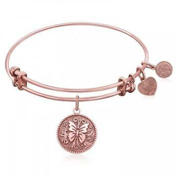 Expandable Bangle in Pink Tone Brass with Butterfly Transformation Symbol