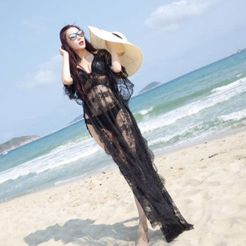 Lace Summer Hollow Out Slim Sexy Beach Vacation Prom Dress One Piece Dress [9574586826]