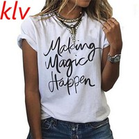 Hot Sale KLV Casual Summer Women Plain Tops Pullover Short Sleeve O-neck Print T-shirt Casual Tee T Shirt Femme Woman Clothing
