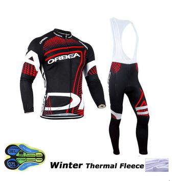 Orbea 2017 cycling jersey pro team winter thermal fleece ropa ciclismo hombre invierno winter cycling clothing men mtb bike