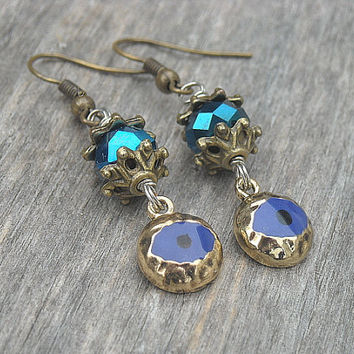 Evil Eye Earrings Blue Evil Eye Hamsa Hand of by InkandRoses13