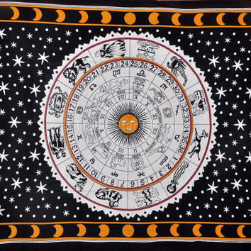 Hippie Wall Tapestries, Tapestry Bedspread, Sun and Moon Celestial Tapestry, Indian Wall Hanging, Zodiac Tapestry, Wall Decor, Twin Bedding