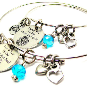 I Love You to the Moon and Back Celestial Adult and Child Matching Expandable Bangle Bracelets