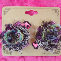 Beautiful Toddler Peacock Shabby Flower Clips, Great for Baby Thin Hair! Pig Tails, hairbows, Leta Lee's Bows, Purple, Blue, Small, Pretty