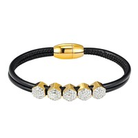 Black Woven Leather 14k Gold Finish Hexagon Iced Out Charm Bracelet Magnetic Clasp