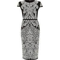 River Island Womens Black foil print scuba midi column dress