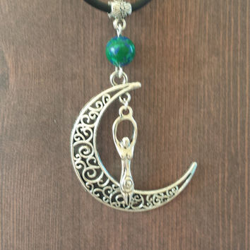 Moon goddess azurite malachite charm pendant necklace