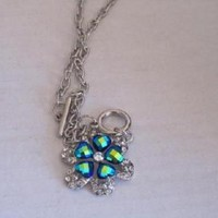 eBlueJay: Teal Blue Green Iridescent Flower Necklace Clover Costume Jewelry Fashion Accessories For Her