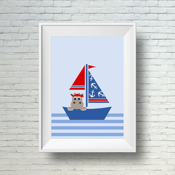 Baby Boy Nursery Wall Art, Nautical Nursery Art,  Red and Blue Sailboat Nursery Decor,  Printable Art For Boys Room, Hippo Art, Baby Boy Art