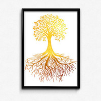 Tree of Life, Tree, Roots, Nature, Earth, Gold Foil, Modern, Art, Print, Printable, Home, Decor, Gifts