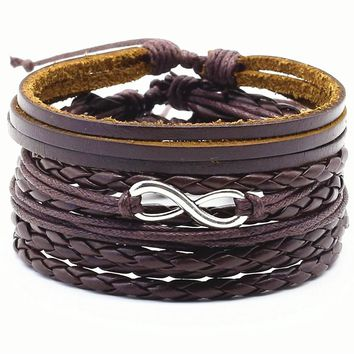 New 4pcs/set Punk DIY Multilayer Wrap Woven Rope Silver Tree Anchor Heart Charm Men Brown Leather Bracelet Women Men Jewelry