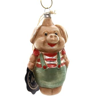 Marolin PIG IN PANT VINTAGE LOOKING Glass Ornament Feather Tree 2011103