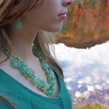 Chalcedony Green, Mint Green, and Iridescent Beaded Bib Statement Necklace Emerald Green with Gold setting and FREE earrings