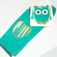 Baby Girl Clothes -Owl Clothes for Baby -  Fleece Pants and appliqued Owl Bodysuit