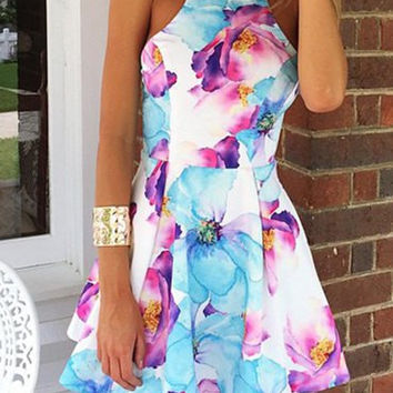 Floral Print Sleeveless Flounce Dress