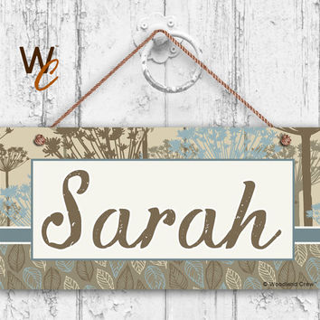 "Nursery Sign, Fun Patterns and Designs, Room Sign, Personalized Sign, Kid's Name, Door Sign, Nursery Art, 5"" x 10"" Sign, Made To Order, ST04"
