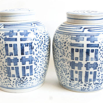 Vintage Double Happiness Ginger Jar, Blue White Chinese Container, Chinoiserie Storage Container Wedding Gift (Sold Separately)