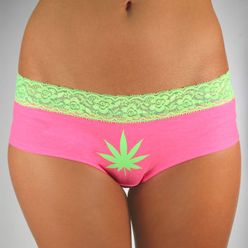 Pink and Green Leaf Lace Boy Shorts