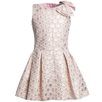 Pink Brocade Dress with Pleated Skirt