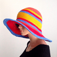 Large Brimmed Cotton Summer sun Hat. Crochet Beach Hat, Summer Fashion Hat. Derby Hat. Cruise Hat