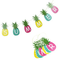 "1pc ""SUMMER"" Pineapple Garland Bunting Decor Fruit Garland Tropical Hawaiian Birthday Bridal Shower Pool Party Flamingo Decor"