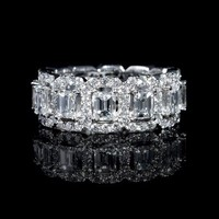 4.00ct Diamond Emerald and Round Brilliant Cut 18k White Gold Eternity Wedding Band Ring