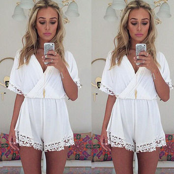 V-neck Lace Short Sleeve Chiffon Jumpsuit