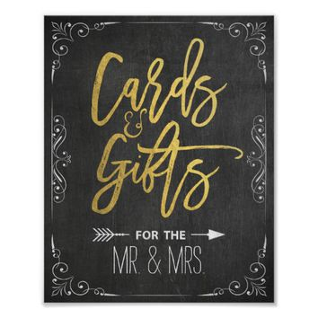 Chalkboard Gold Script Cards & Gifts Wedding Sign Poster