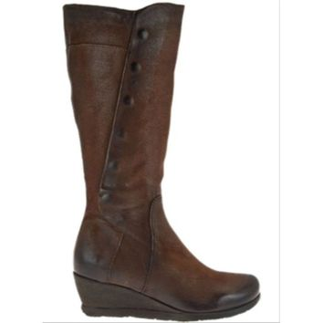 Miz Mooz Marybeth Tall Leather Wedge Boots with Side Zip