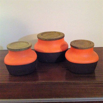 Vintage 1970s BX Plastics Orange Canisters - Set of Three (3) - Retro Kitchen Canisters