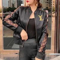 """Louis Vuitton"" Women Retro Fashion Multicolor Letter Embroidery Long Sleeve Zip Cardigan Short Section PU Leather Clothes Jacket Coat"