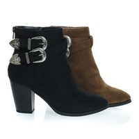 Luna Western Cowboy Chunky Block Heel Ankle Bootie, Women Cowgirl Inspired Shoes