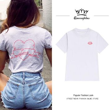 2017 Europe American Bts Tops Women Romantic love letters love i back print half sleeve short sleeve loose t-shirt female summer